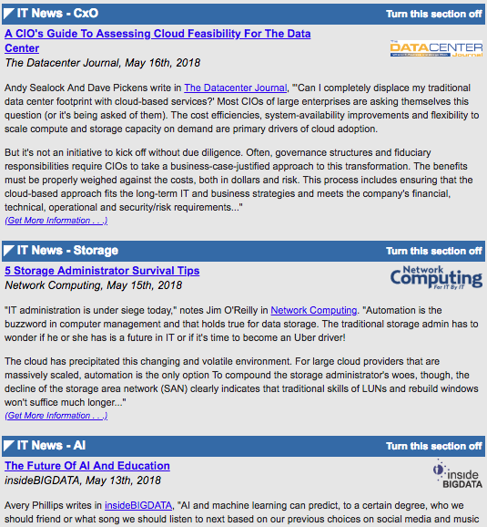 Newsletter articles with paragraph of two of text