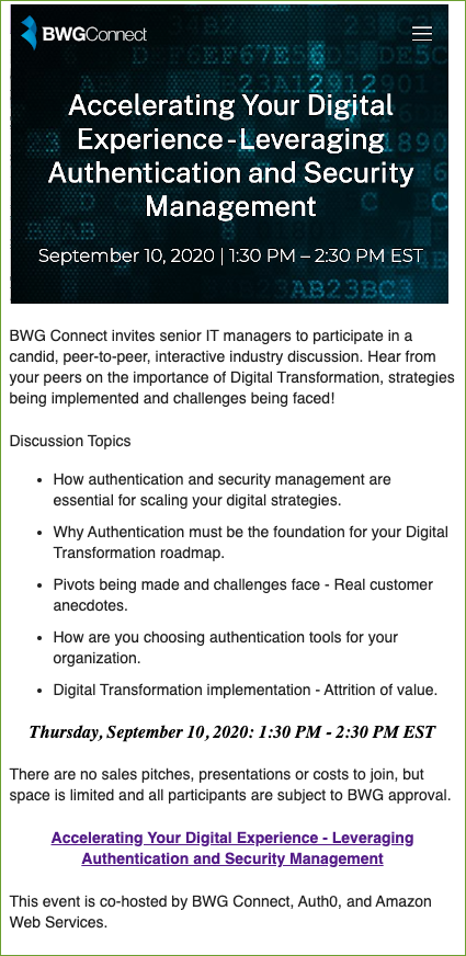 Accelerating Your Digital Experience - Leveraging Authentication and Security Management